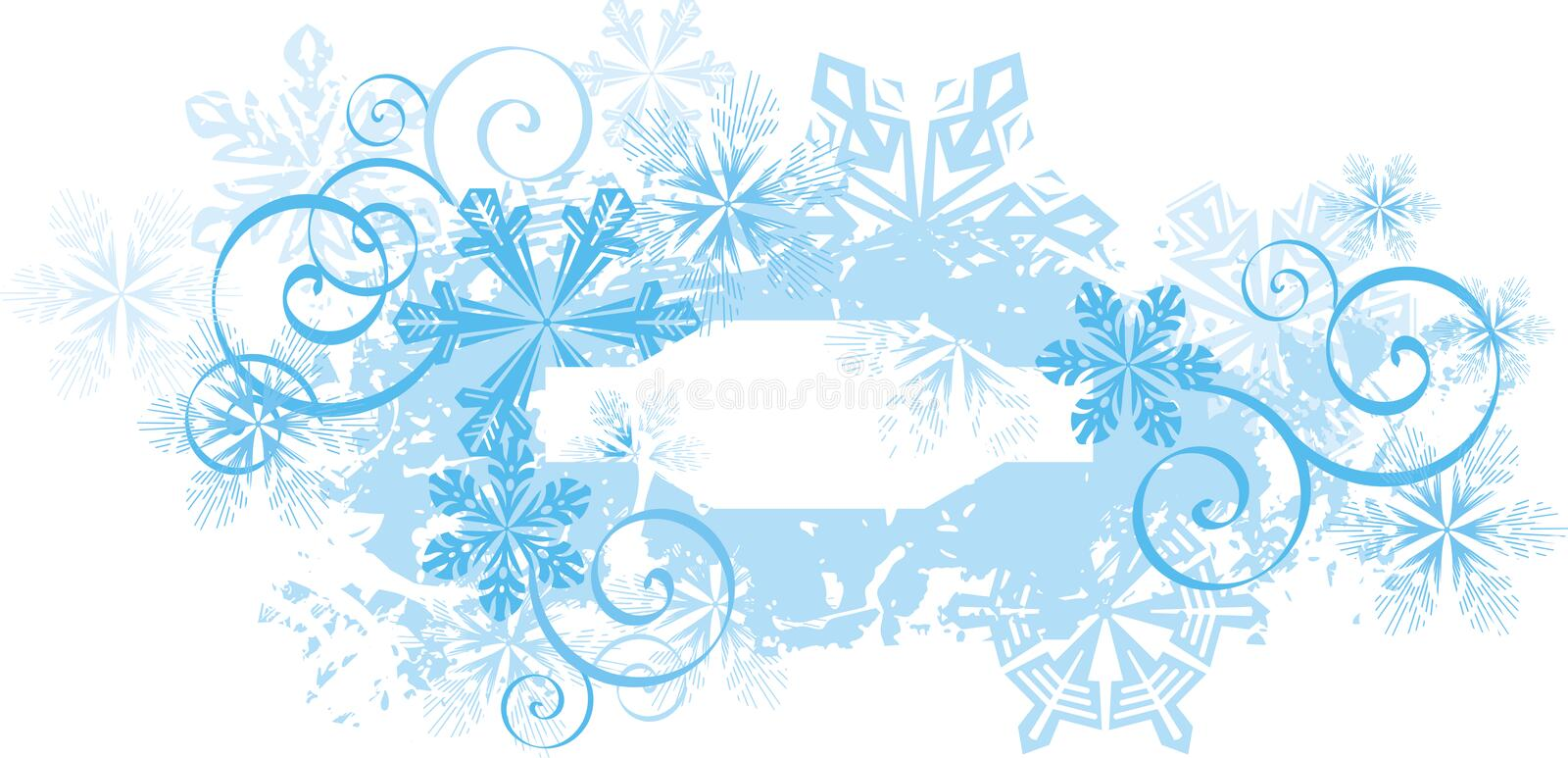 Ornamental winter background. Exquisite winter background series with snowflakes and grunge details, illustration vector illustration