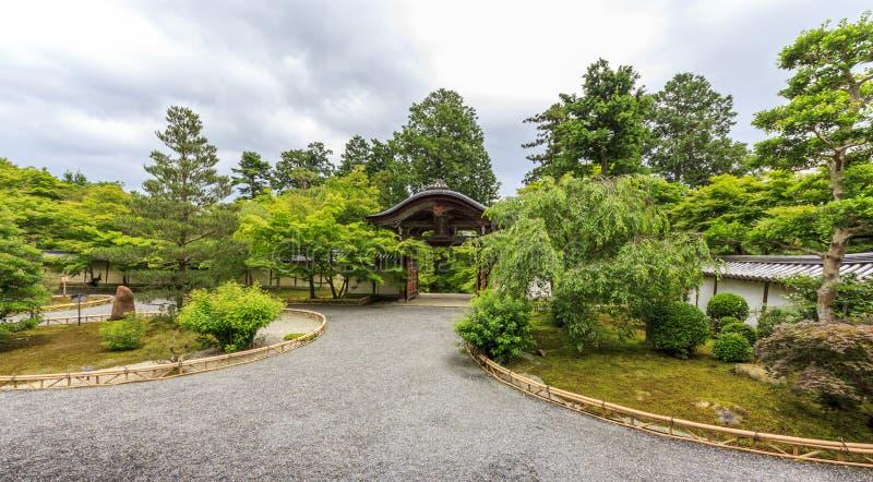 Ornamental Wooden Gate And Temple Courtyard In Arashiyama Distr Editorial Stock Photo