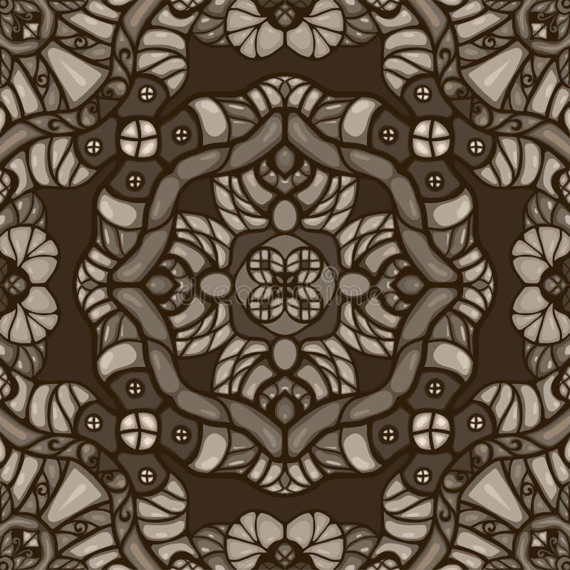 Ornamentalmuster Vektor der einfarbigen Sepiaphantasie nahtloses lizenzfreie abbildung