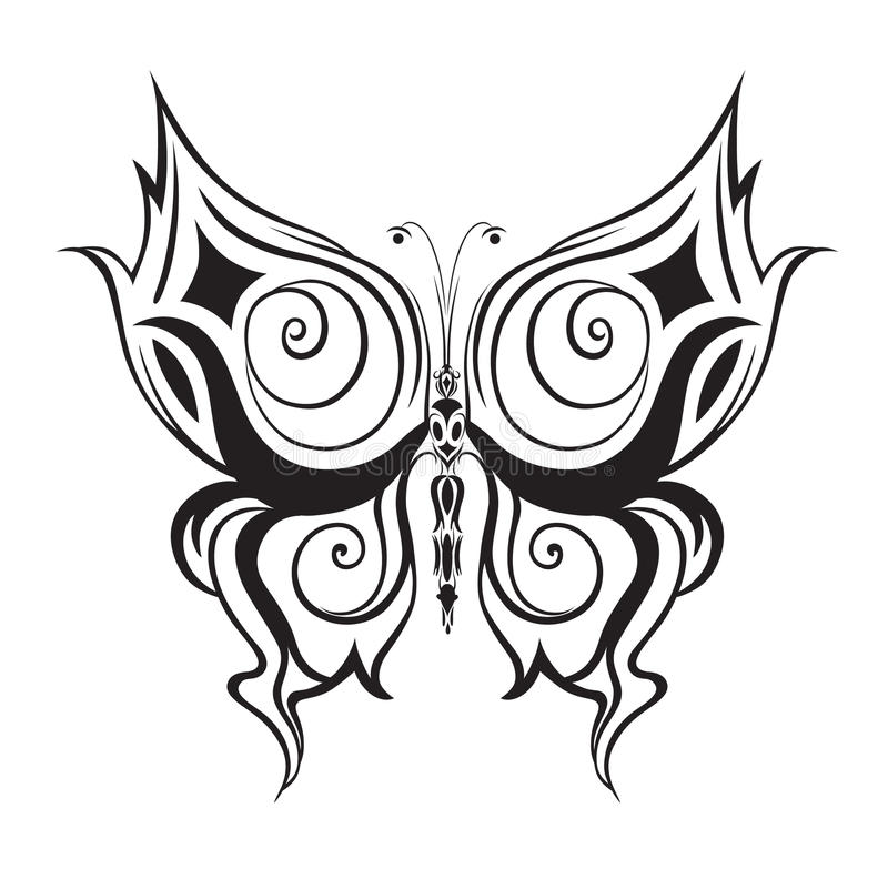 Ornamented abstract silhouette butterfly. Abstract silhouette invented decorative butterfly. It is designed to decorate stock illustration