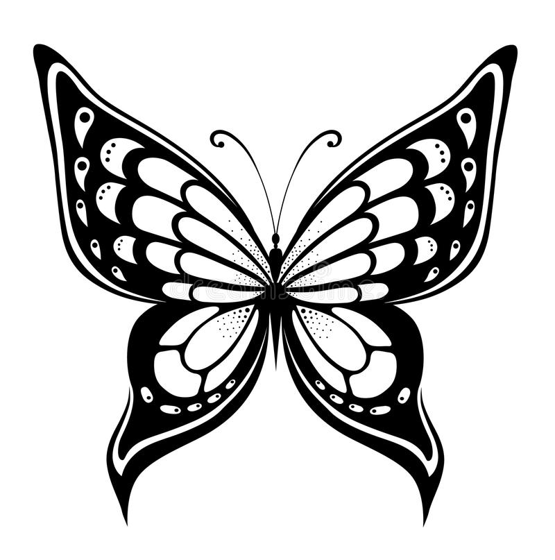 Ornamented abstract silhouette butterfly. Abstract silhouette invented decorative butterfly. Reminiscent of lace, it is designed to decorate vector illustration