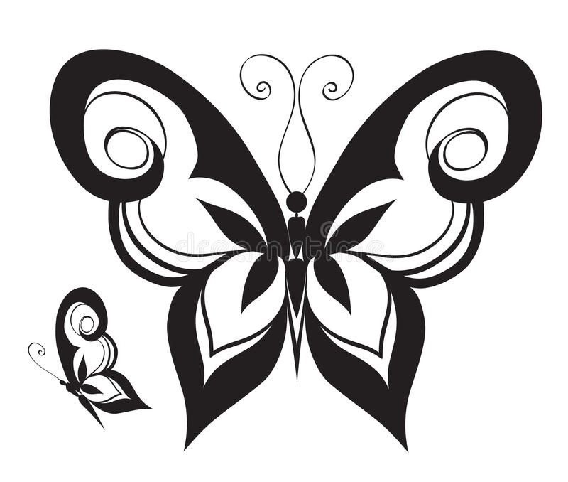 Ornamented abstract silhouette butterfly. Abstract silhouette invented decorative butterfly. Reminiscent of lace, it is designed to decorate stock illustration