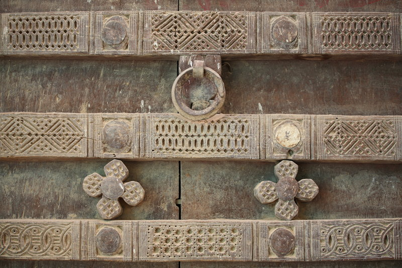 Ornamented door. From Shibam, Yemen royalty free stock images