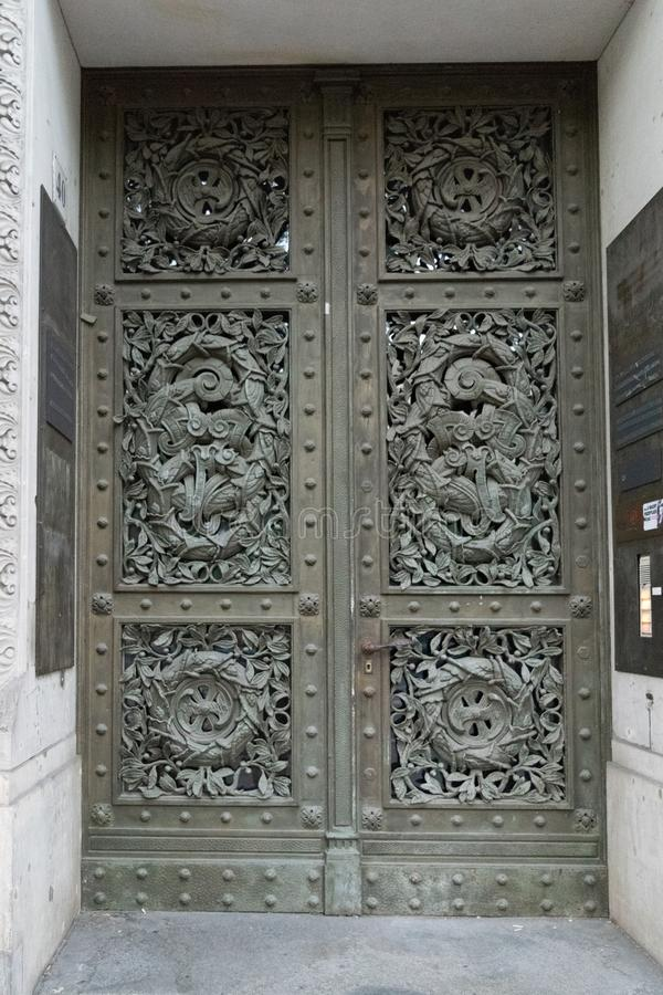 Ornamented door in Berlin. In color picture royalty free stock images