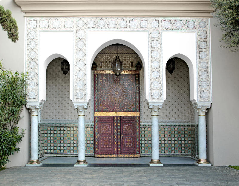 Ornamented door, Hassan II Mosque, Casablanca. Morocco stock photo
