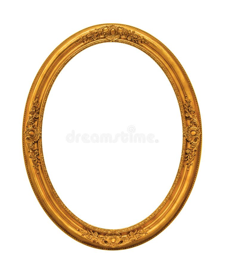 Ornamented gold plated empty picture frame Isolated on white. Background stock photography