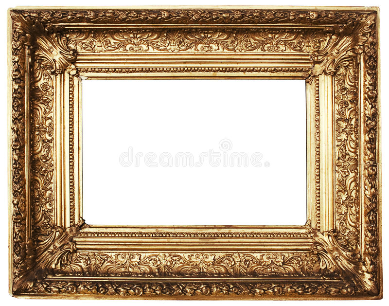 Ornamented Picture Frame Gold (Path Included) stock photography