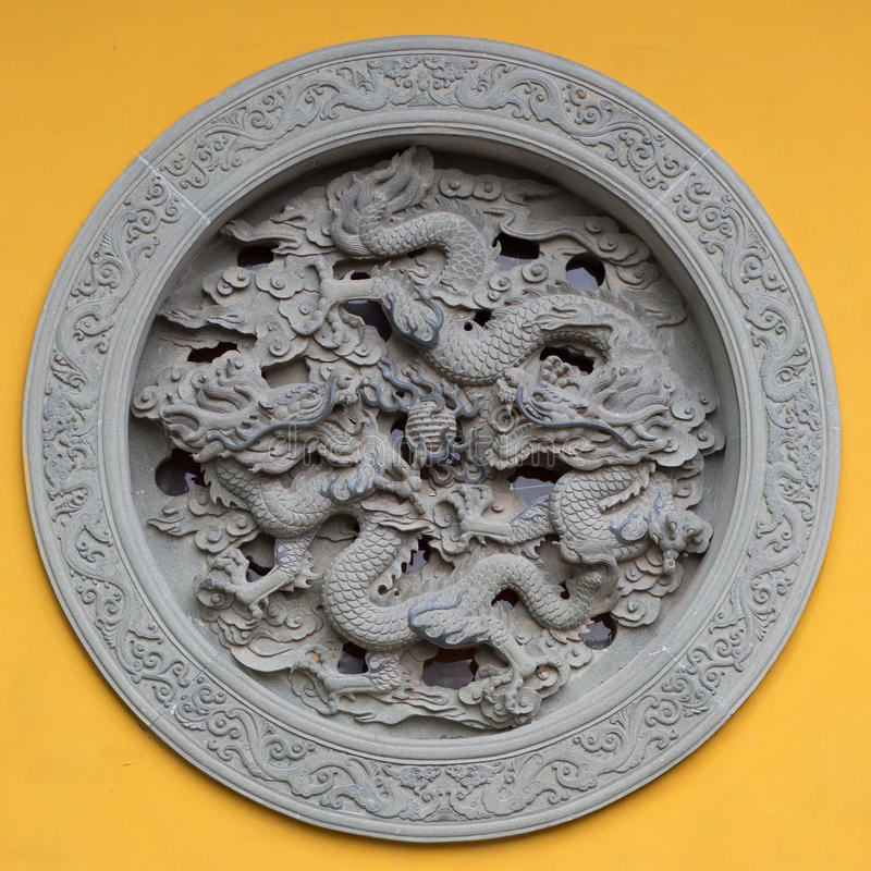 Ornamented window with dragon royalty free stock images