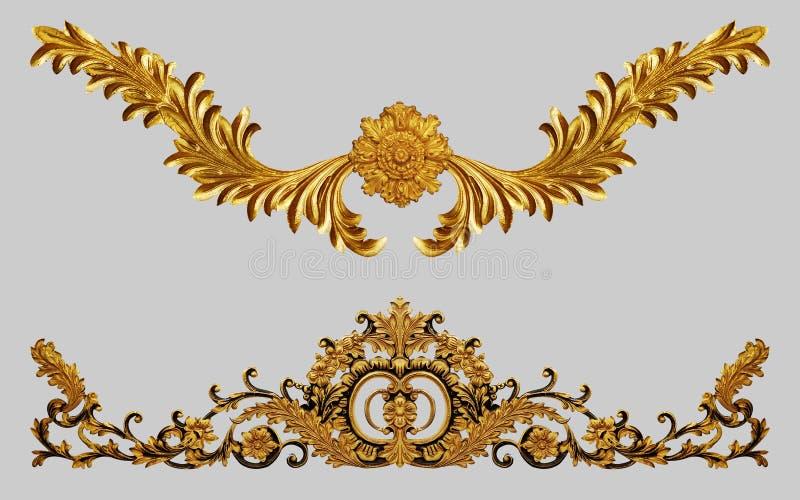 Ornamentelementen, uitstekende gouden bloemen stock afbeeldingen