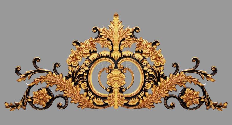 Ornamentelementen, uitstekende gouden bloemen stock afbeelding
