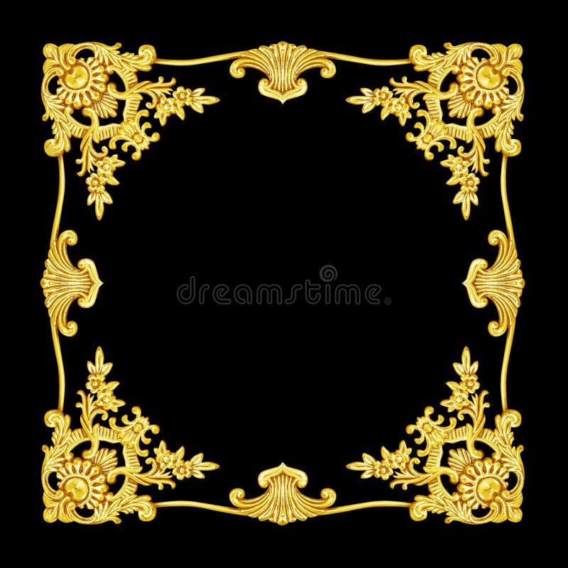 Ornamentelementen, uitstekende gouden bloemenmetatontwerpen royalty-vrije stock foto
