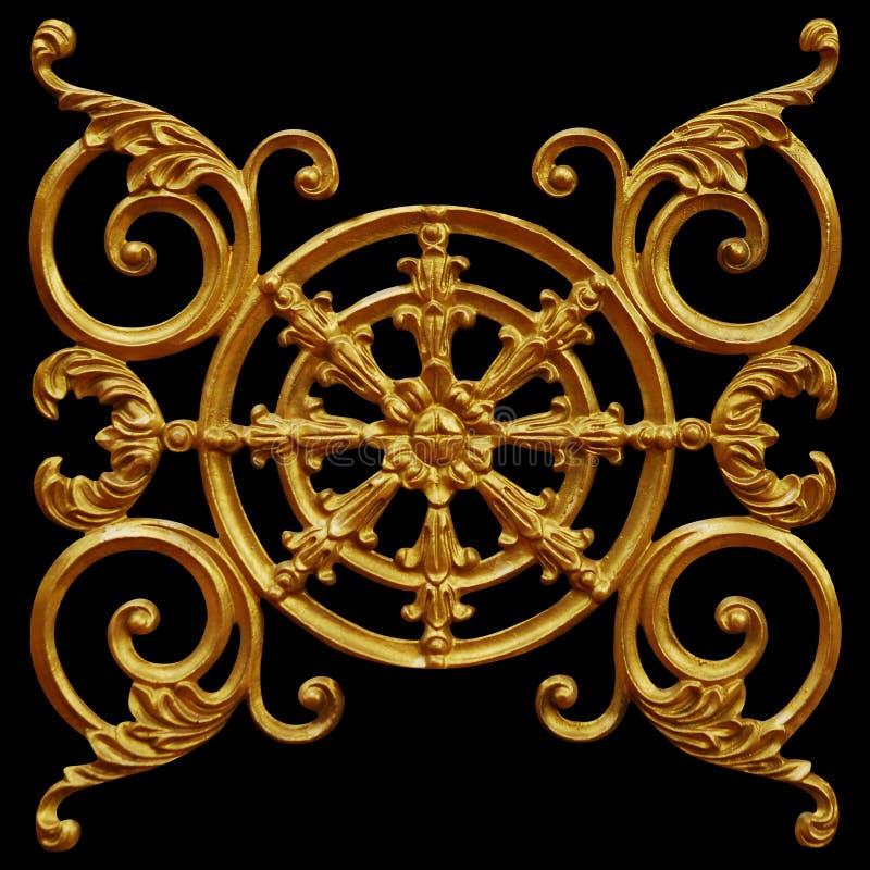 Ornamentelementen, uitstekende gouden bloemenontwerpen stock foto