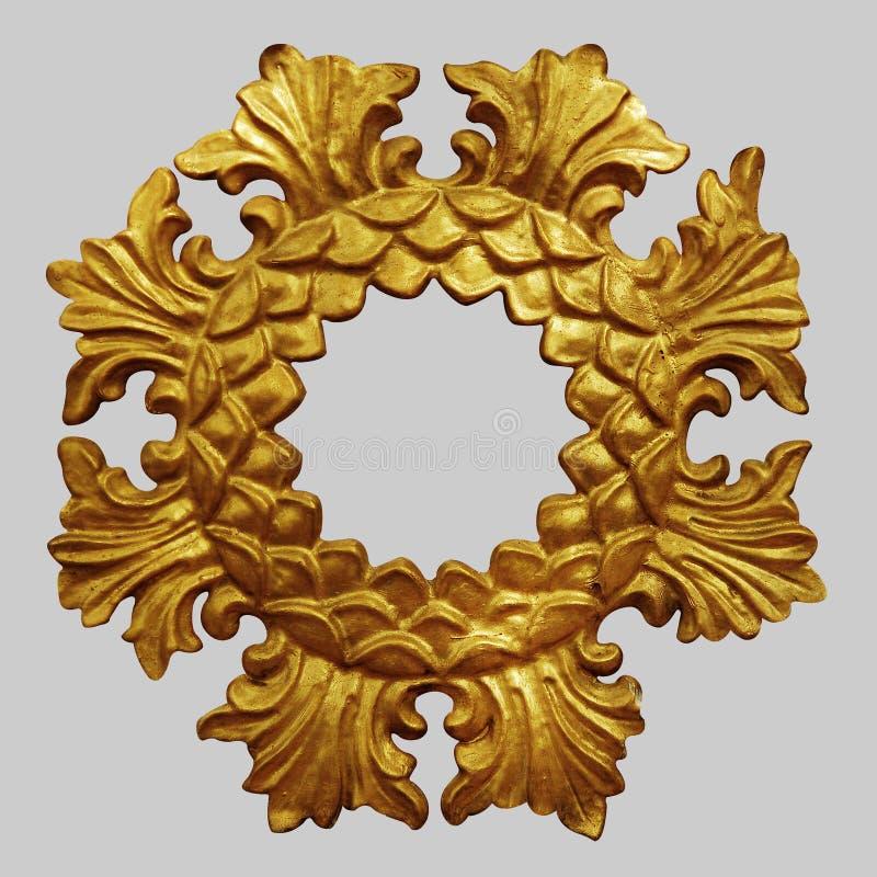 Ornamentelementen, uitstekende gouden bloemenontwerpen stock fotografie