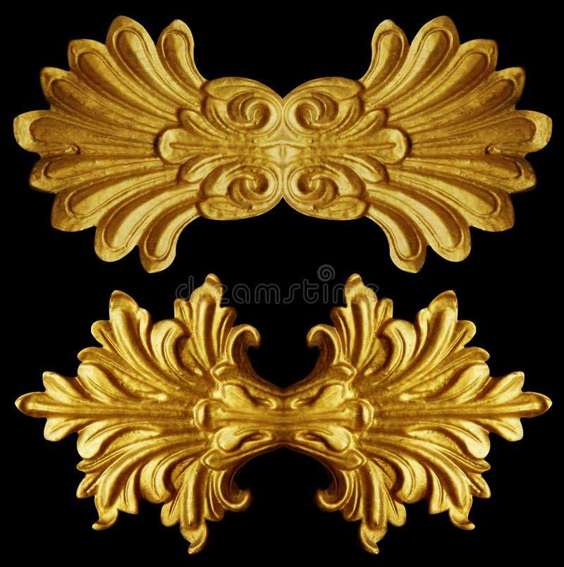 Ornamentelementen, uitstekende gouden bloemenontwerpen royalty-vrije stock afbeeldingen