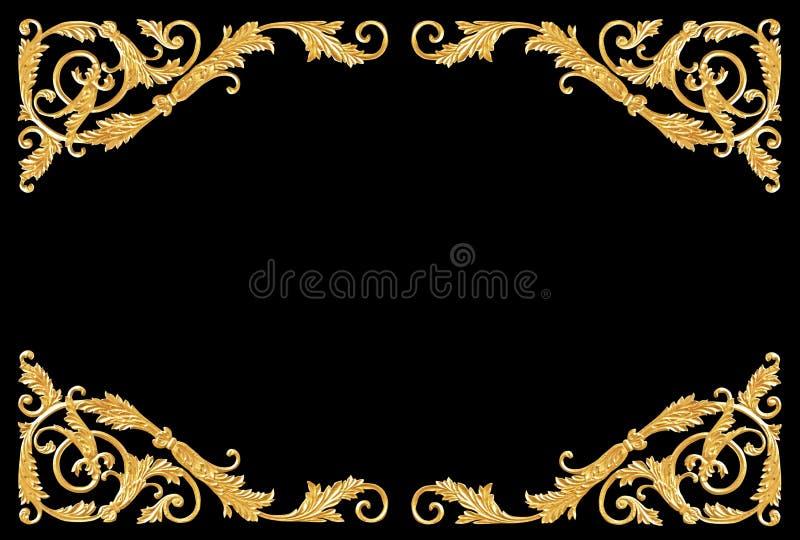 Ornamentelementen, uitstekende gouden bloemenontwerpen stock foto's