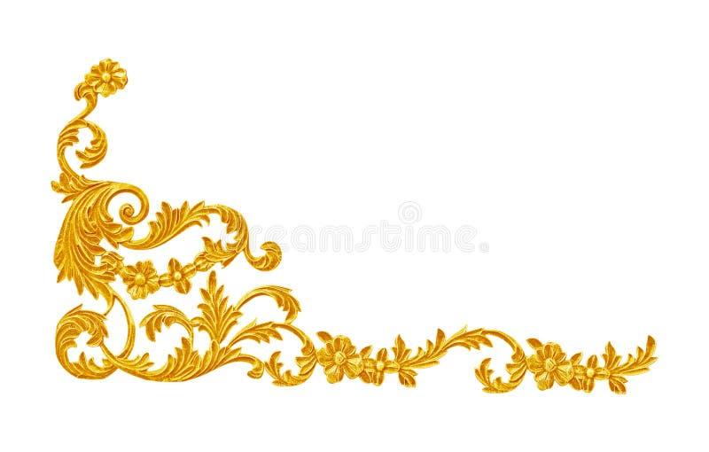 Ornamentelementen, uitstekende gouden bloemenontwerpen royalty-vrije stock foto