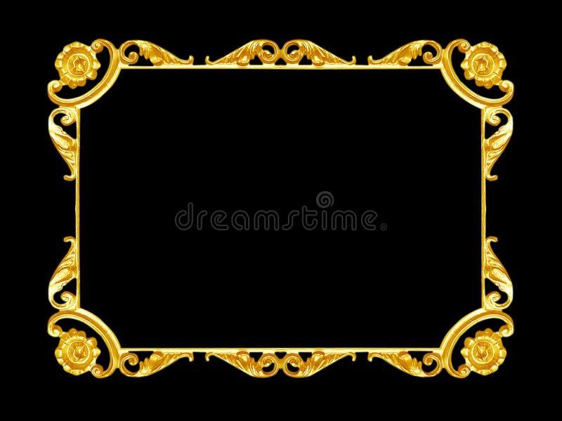 Ornamentelementen, uitstekende gouden kader bloemenontwerpen stock afbeelding