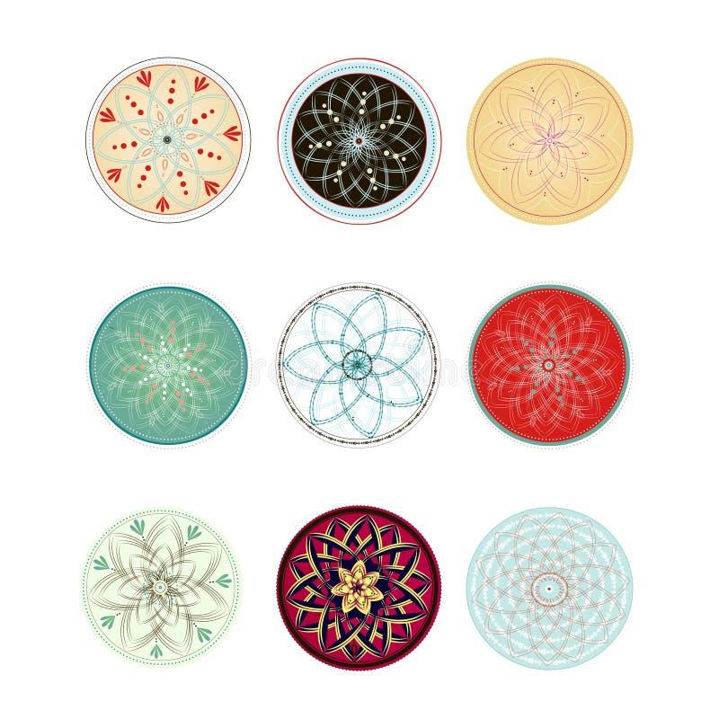 ornamenten Bloemenmandalas vector illustratie