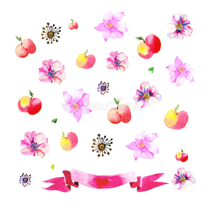 Download Ornamenten Met Geschilderde Appelen, Bloemen Vector Illustratie - Illustratie bestaande uit mening, single: 54090161