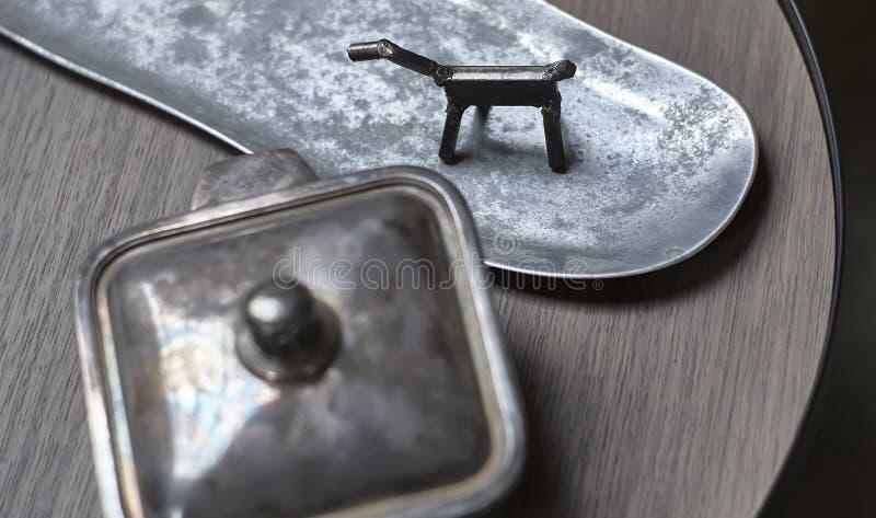 Ornamenten in metaal en zilver royalty-vrije stock afbeeldingen