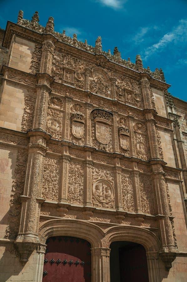 Ornamenten in steen op de Universitaire voorgevel die van Salamanca worden gesneden royalty-vrije stock afbeeldingen
