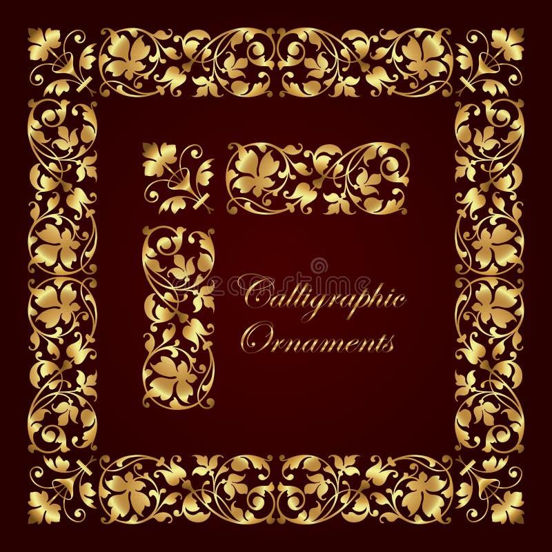 Ornamenti, angoli, confini e strutture calligrafici decorativi dorati per la decorazione e la progettazione della pagina illustrazione vettoriale