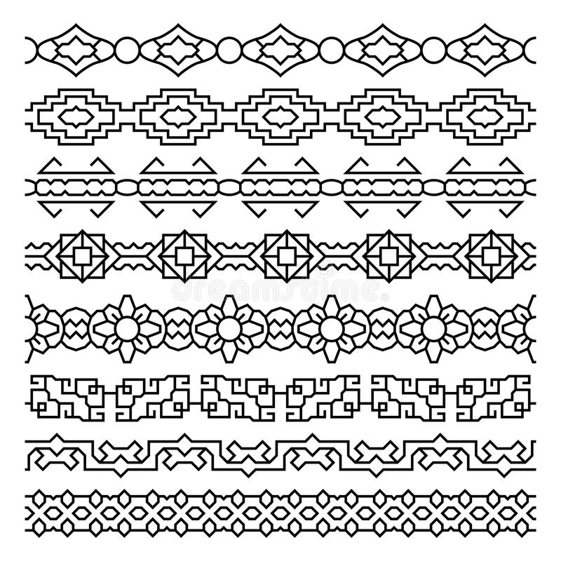 Ornamenti asiatici della struttura e del confine illustrazione vettoriale