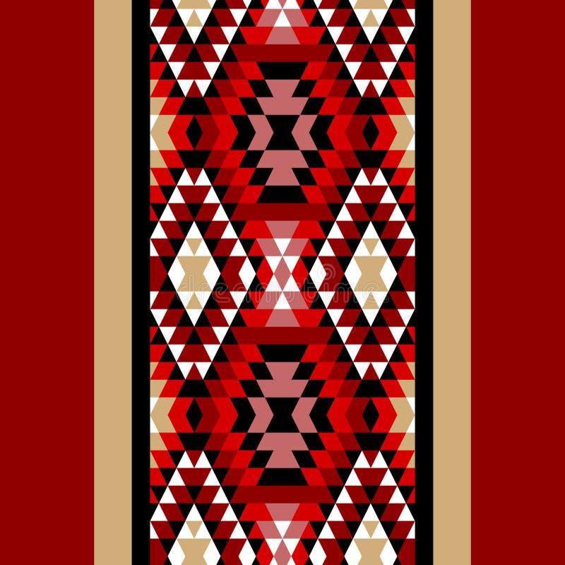 Ornamenti aztechi bianchi e neri rossi variopinti confine senza cuciture etnico geometrico, vettore illustrazione vettoriale