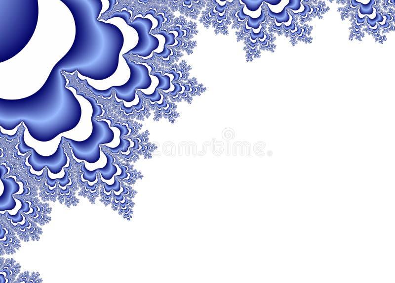 Ornamenti blu di frattale su bianco illustrazione vettoriale