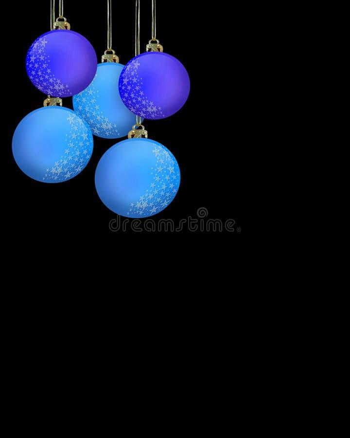 Ornamenti blu di natale sul nero royalty illustrazione gratis