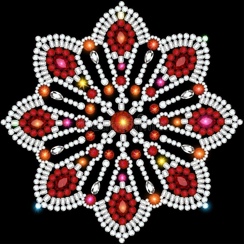 Ornamenti circolari del fondo delle pietre preziose royalty illustrazione gratis