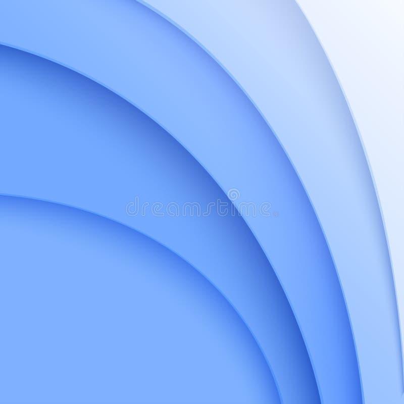 Ornamenti curvi estratto dal taglio della carta blu illustrazione vettoriale