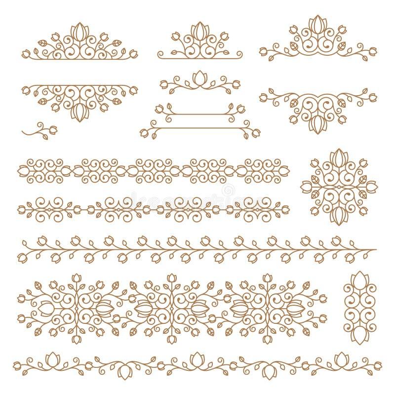 Ornamenti d'annata e divisori Progetti l'insieme di elementi Flor decorata illustrazione vettoriale