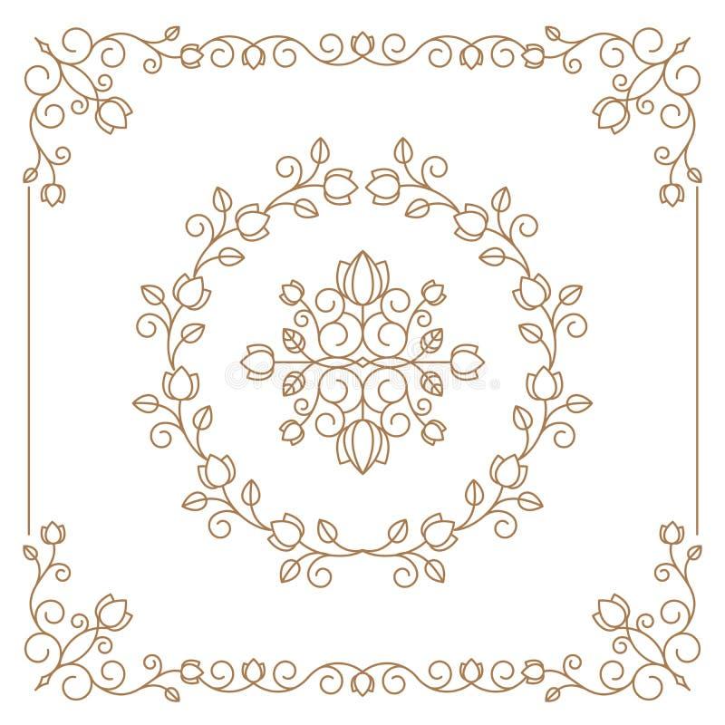 Ornamenti d'annata e divisori Progetti l'insieme di elementi Flor decorata illustrazione di stock