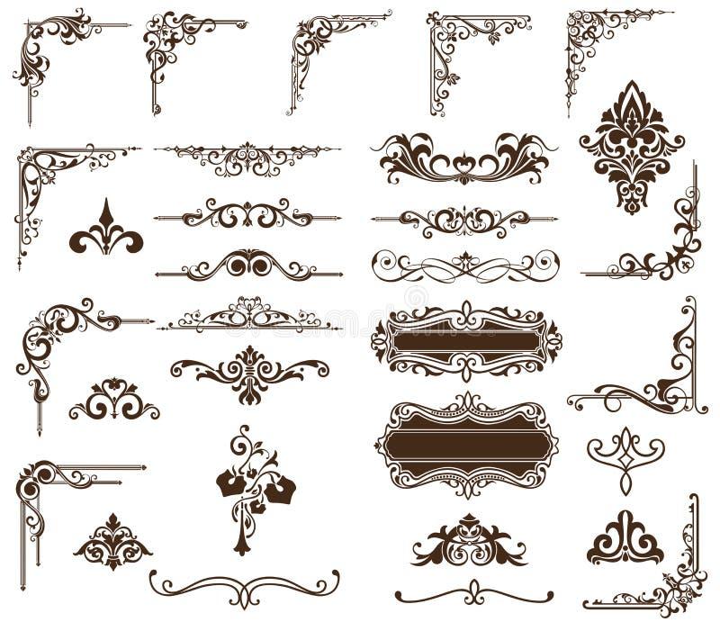 Ornamenti d'annata stabiliti di vettore, angoli, confini illustrazione di stock