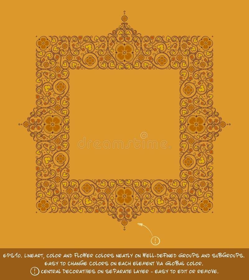 Ornamenti decorativi del fiore quadrato - ocra illustrazione di stock