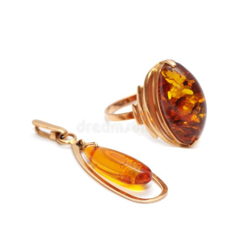 Ornamenti dell'oro con ambra fotografia stock libera da diritti