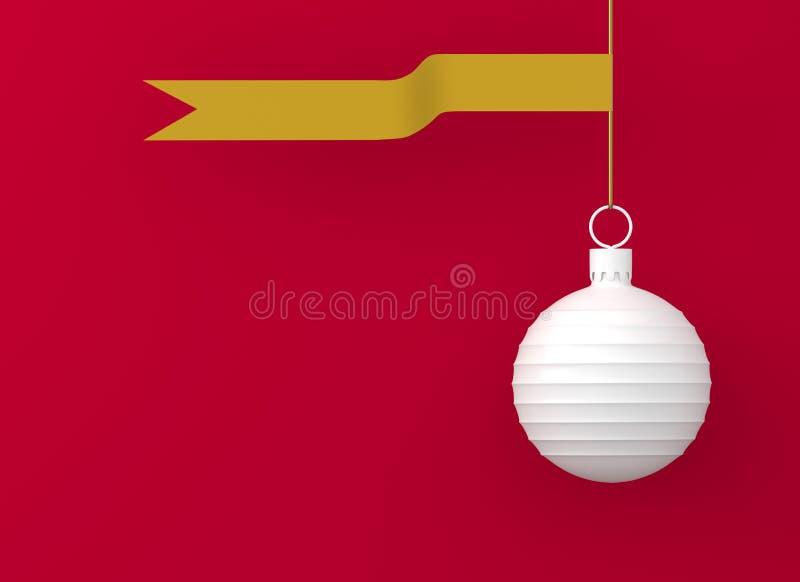 Ornamenti della palla di natale bianco con l'oro del nastro che appende sul fondo rosso Avvolgimento brillante rosso dorato della royalty illustrazione gratis
