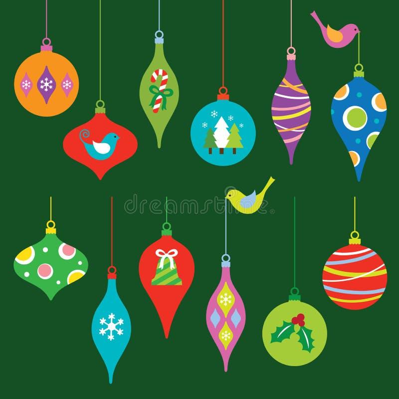 Ornamenti di natale impostati illustrazione vettoriale