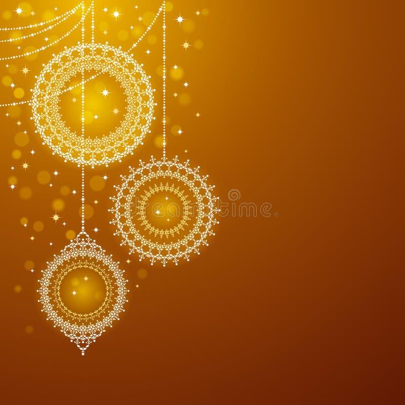 Ornamenti di natale su priorità bassa dorata illustrazione vettoriale