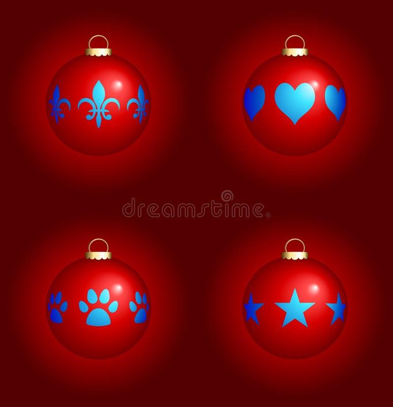 Ornamenti di natale su priorità bassa rossa illustrazione vettoriale