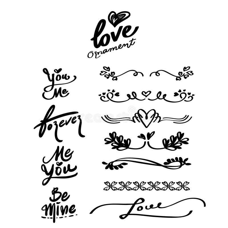 Ornamenti disegnati a mano di amore e parole di calligrafia, divisore royalty illustrazione gratis