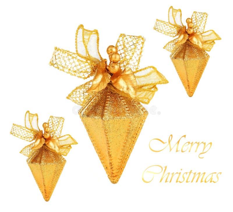 Ornamenti dorati dell'albero di Natale immagini stock libere da diritti