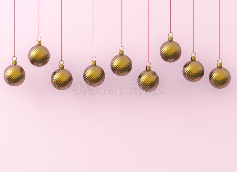 Ornamenti dorati delle palle di Natale su fondo rosa L'avvolgimento brillante rosso dorato della decorazione del ` la s EVE del n illustrazione vettoriale