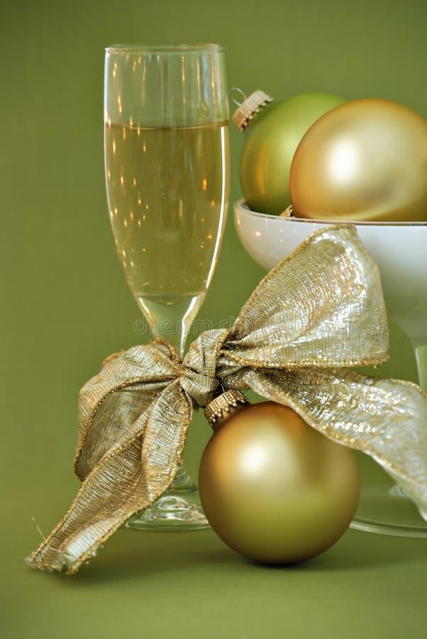 Ornamenti e champa di natale fotografia stock