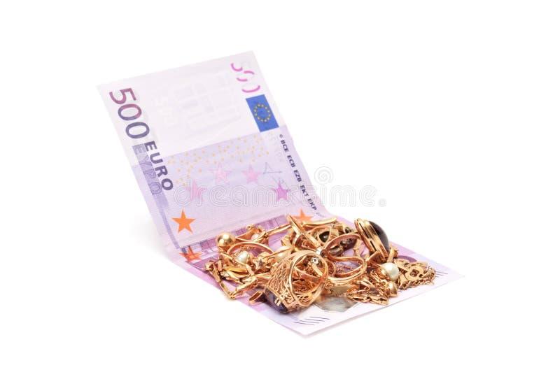 Ornamenti ed euro dell'oro fotografia stock libera da diritti
