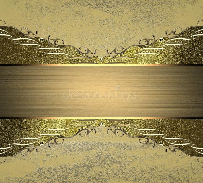 Ornamenti ed invito dorati su struttura di lerciume Mascherina per il disegno copi lo spazio per l'opuscolo dell'annuncio o l'inv illustrazione vettoriale