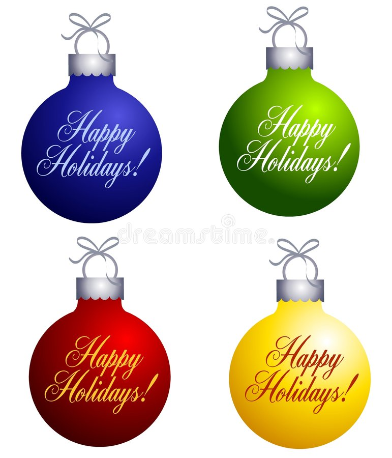 Ornamenti felici di feste illustrazione di stock