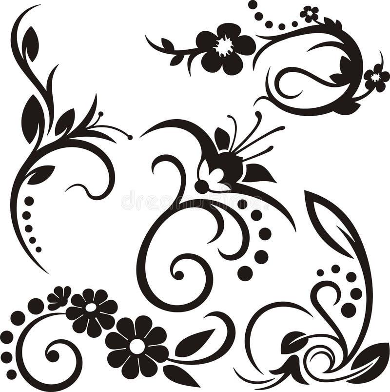 Ornamenti floreali illustrazione di stock