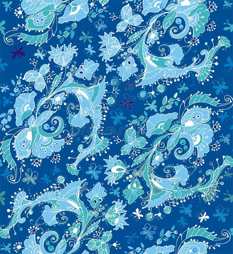 Ornamenti floreali dalle farfalle, dai fiori, dalle foglie e dalle bacche illustrazione vettoriale
